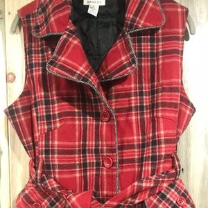 J Jill Red Plaid Wool Vest/Quilted~Size M